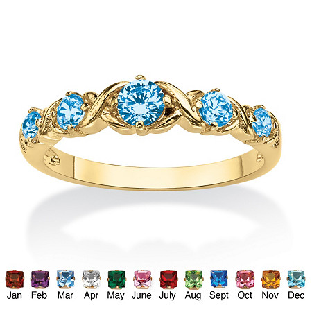 Round Birthstone 14k Gold-Plated X & O Stackable Ring