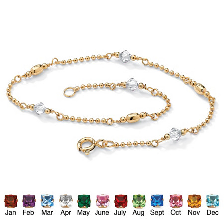 Simulated Birthstone 14k Gold over Sterling Silver Beaded Ankle Bracelet 11