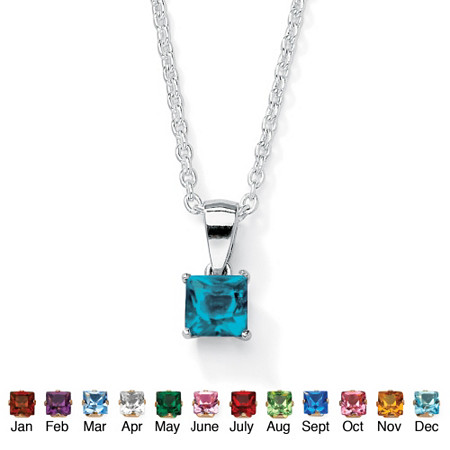 Princess-Cut Simulated Birthstone Sterling Silver Pendant and Chain 18