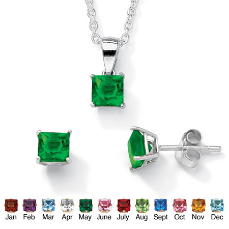 Simulated Birthstone Sterling Silver Pendant, 18 Chain and Earrings Set