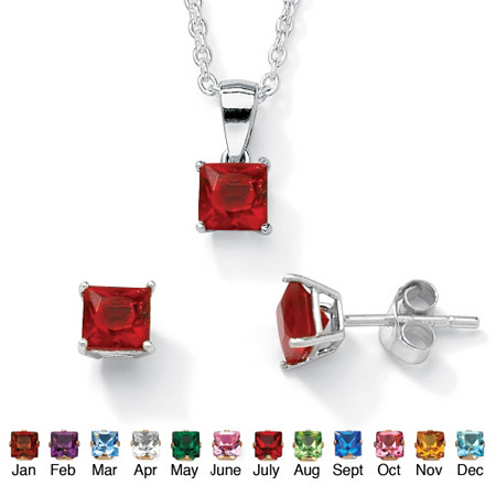 Princess-Cut Simulated Birthstone Sterling Silver Pendant, 18 Chain and Stud Earrings Set