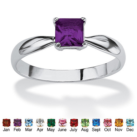Princess-Cut Simulated Birthstone Sterling Silver Solo or Stack Ring