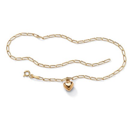 10k Yellow Gold Oblong-Link Heart Charm Bracelet 7 1/2