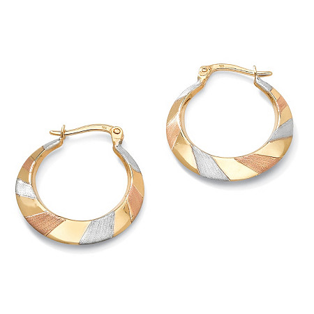 10k Tritone Gold Hoop Earrings