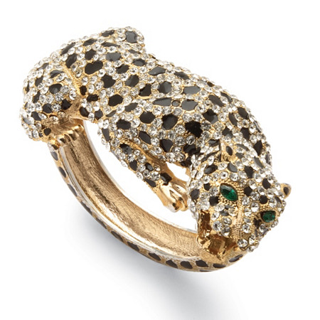 Crystal Enamel Leopard Hinged Bangle Bracelet in Yellow Gold Tone