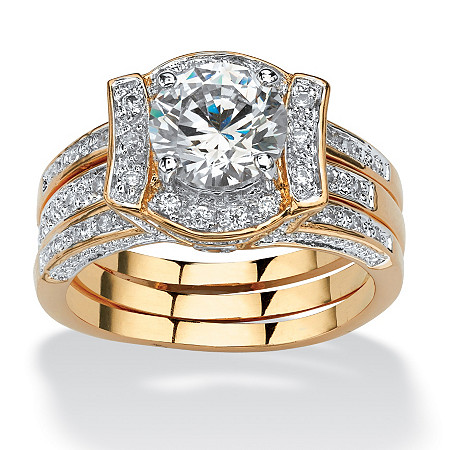 2.37 TCW Round Cubic Zirconia 14k Gold-Plated Bridal Engagement Ring Wedding Band Set