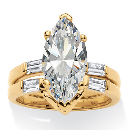 4.42 TCW Marquise-Cut Cubic Zirconia 18k Yellow Gold-Plated Bridal Engagement Ring Wedding Band Set
