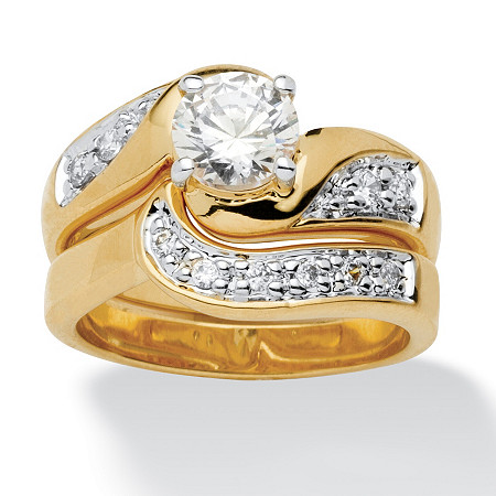Round Cubic Zirconia 14k Yellow Gold-Plated Swirled Bridal Engagement Ring Wedding Band Set