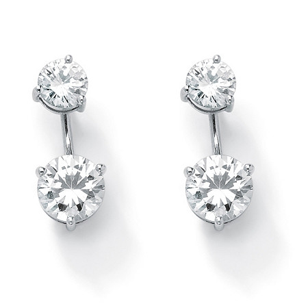 5.80 TCW Round Cubic Zirconia Platinum Over Sterling Silver 2-in-1 Stud and Drop Earrings