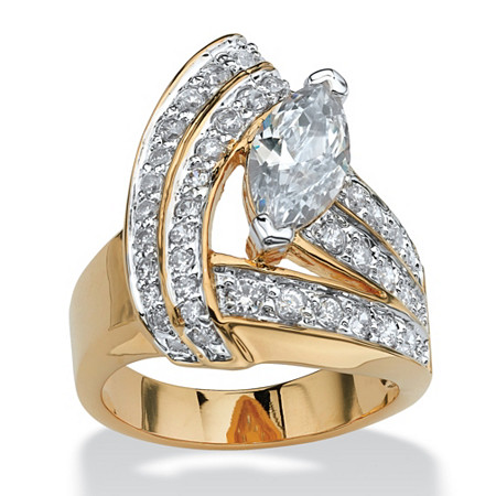 3.08 TCW Marquise-Cut Cubic Zirconia 14k Gold-Plated Wrap Ring