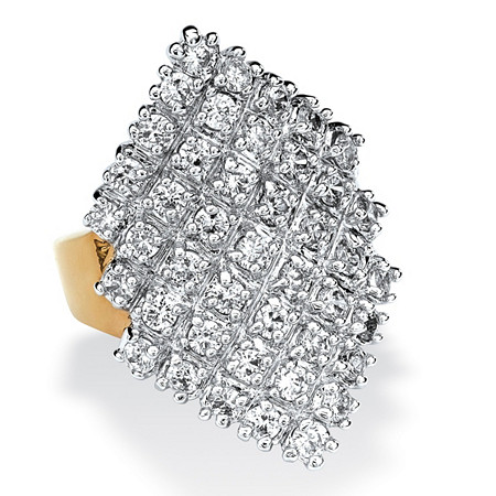 2.58 TCW Round Cubic Zirconia 14k Gold-Plated Marquise-Shaped Cocktail Ring