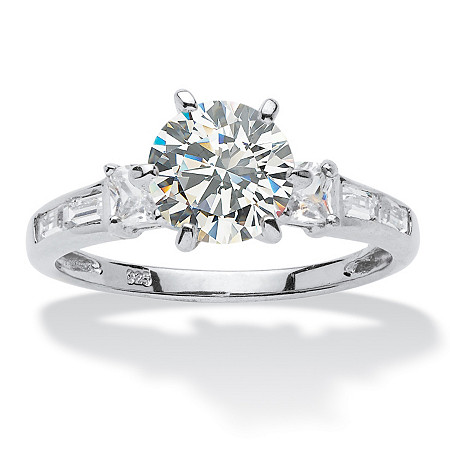 2.14 TCW Round Cubic Zirconia Platinum over Sterling Silver Engagement Anniversary Ring
