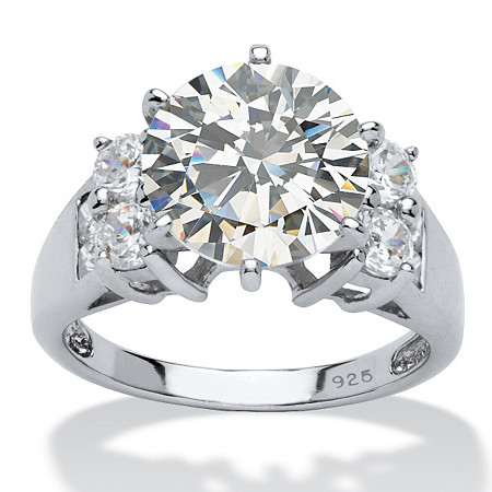 4.66 TCW Round Cubic Zirconia Platinum over Sterling Silver 3-Stone Bridal Engagement Ring