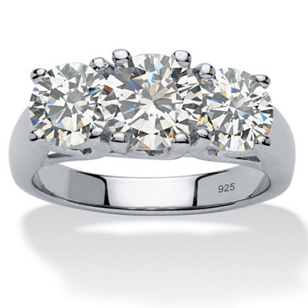 4.25 TCW Round Cubic Zirconia Platinum Over Sterling Silver Three-Stone Anniversary Ring