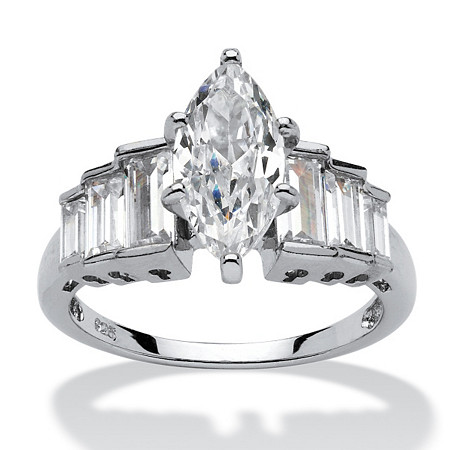 3.82 TCW Marquise-Cut Cubic Zirconia Platinum over Sterling Silver Ring