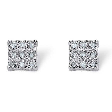 .14 TCW Round Diamond Platinum Over Sterling Silver Square-Shaped Stud Earrings
