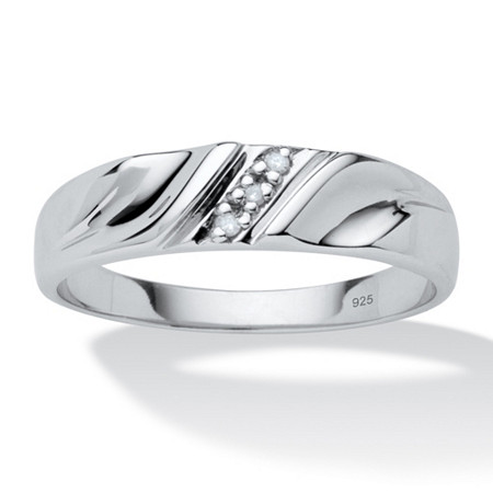 Men's Diamond Accent Platinum Over Sterling Silver Diagonal-Set Wedding Band