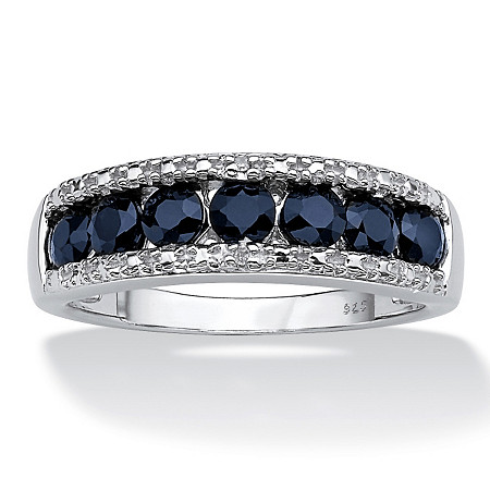 1.05 TCW Round Blue Genuine Sapphire with Diamond Accents Platinum over Sterling Silver Ring