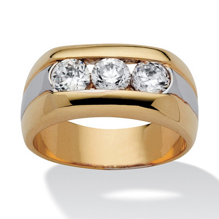Men's 1.50 TCW Round Cubic Zirconia 14k Yellow Gold-Plated Two-Tone Triple-Stone Ring