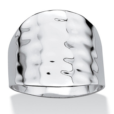 Platinum-Plated Hammered-Style Cigar Band Ring