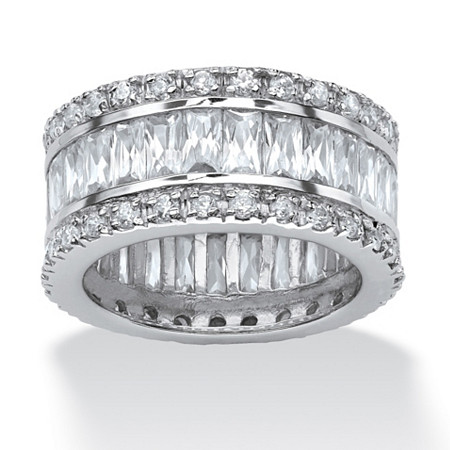 9.34 TCW Round and Emerald-Cut Cubic Zirconia Platinum-Plated Eternity Band Ring