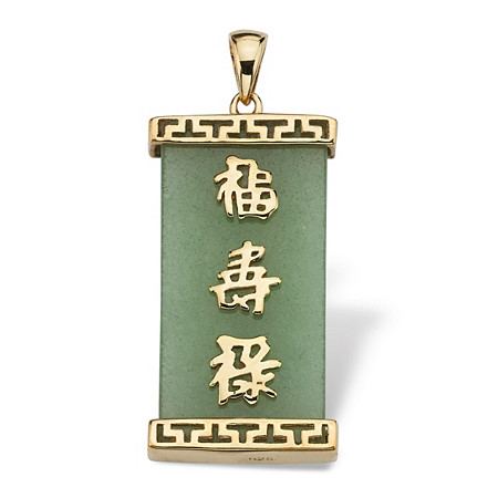 Green Jade Good Luck, Prosperity & Long Life Pendant in Golden Finish over Sterling Silver