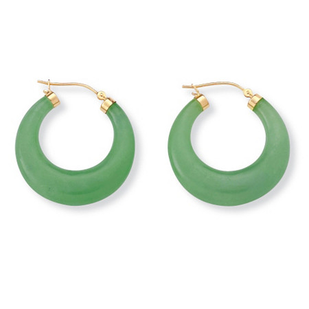 Green Jade Hoop Earrings in Golden Finish over Sterling Silver