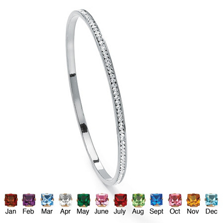 Round Simulated Birthstone Black Rhodium-Plated Stackable Eternity Bangle Bracelet 7 1/2