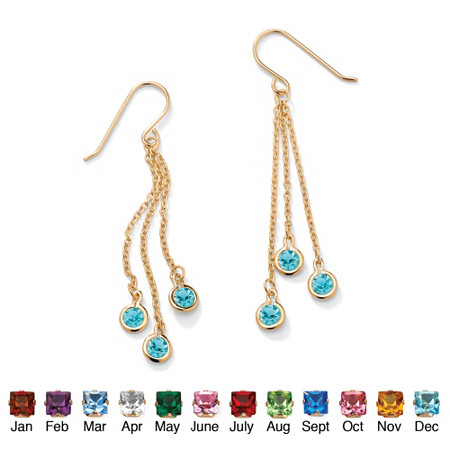 Bezel-Set Simulated Birthstone 14k Yellow Gold-Plated Drop Earrings