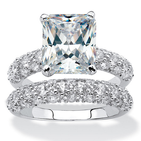 6.50 TCW Emerald-Cut Cubic Zirconia Platinum-Plated Bridal Engagement Ring Wedding Band Set