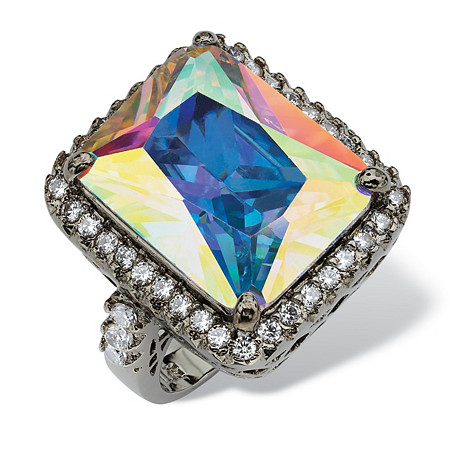 28.95 TCW Emerald-Cut Aurora Borealis Cubic Zirconia Black Rhodium-Plated Cutout Ring