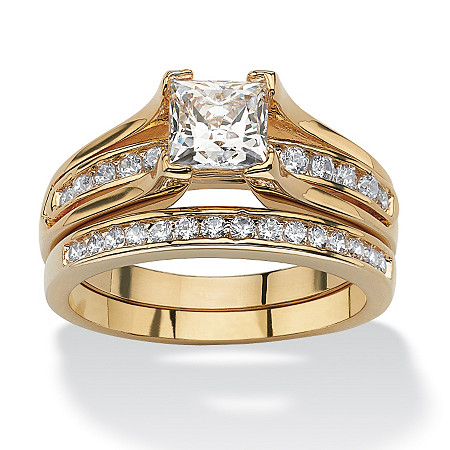 1.87 TCW Princess-Cut Cubic Zirconia 14k Gold-Plated Bridal Engagement Ring Wedding Band Set