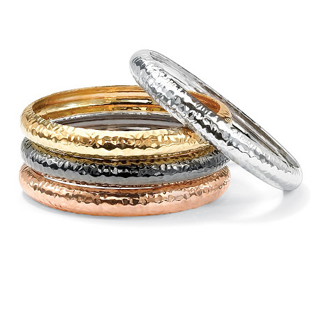 Rosetone Blacktone Yellow Gold Tone Silvertone Set of Four Hammered-Style Bangle Bracelets
