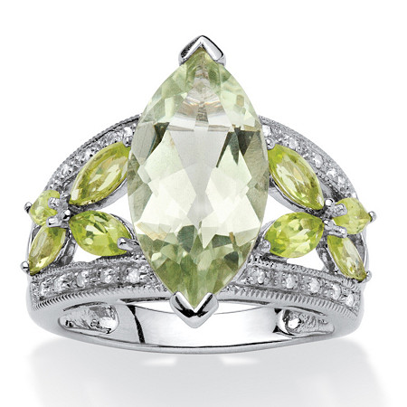 4.73 TCW Marquise-Cut Green Genuine Amethyst and Genuine Peridot Platinum over Sterling Silver Ring
