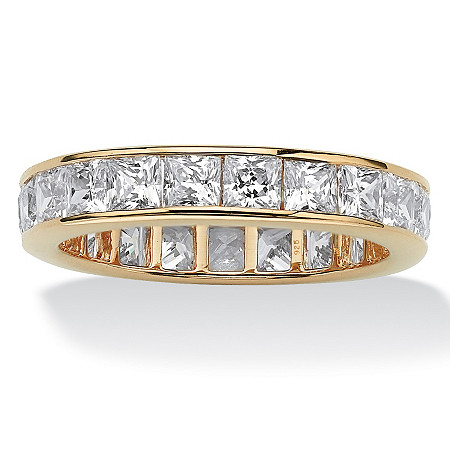 5.29 TCW Princess-Cut Cubic Zirconia 18k Yellow Gold Over Sterling Silver Eternity Channel Band Ring