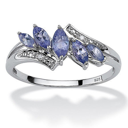 .76 TCW Marquise-Cut Genuine Purple Tanzanite with Diamond Accent Platinum over Sterling Silver Ring