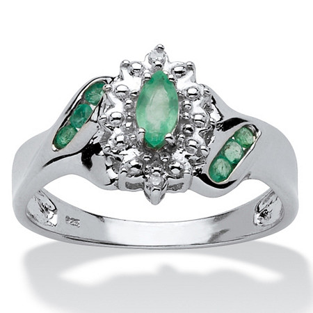 .38 TCW Marquise-Cut and Round Genuine Emerald Diamond Accent Platinum over Sterling Silver Ring