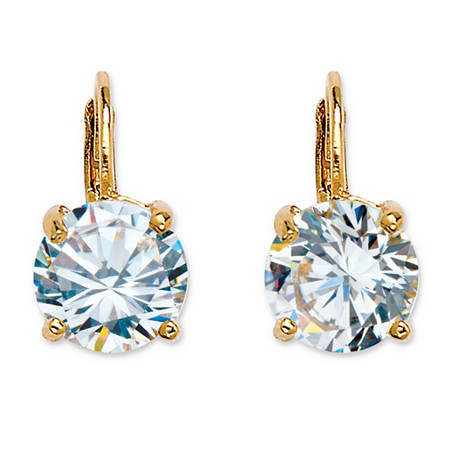 4.00 TCW Round Cubic Zirconia 14k Yellow Gold-Plated Lever-Back Drop Earrings