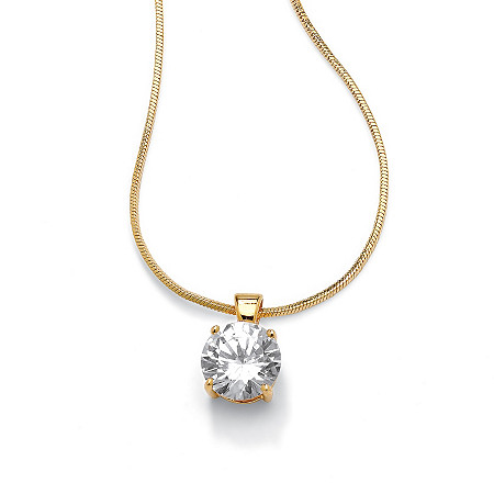 4-Carat Round Cubic Zirconia 14k Yellow Gold-Plated Solitaire Pendant and Snake Chain 16