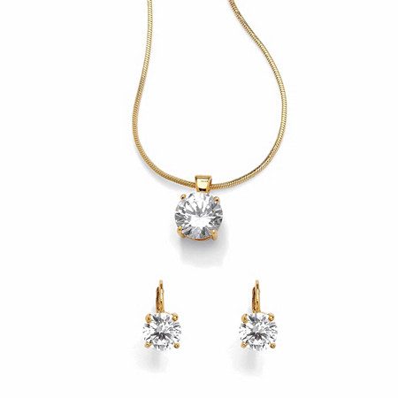 4-Carat Round Cubic Zirconia 14k Yellow Gold-Plated Pendant, Snake Chain and Earrings Set