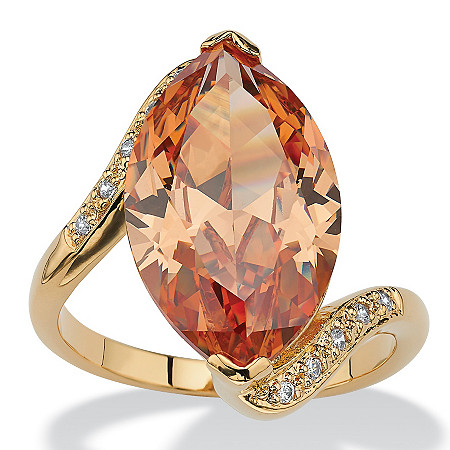 8.04 TCW Marquise-Cut Champagne-Color Cubic Zirconia 18k Gold-Plated Cocktail Ring