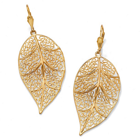 Filigree Leaf Drop Earrings in Yellow Gold Tone