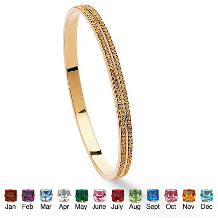 Birthstone Stackable Double Row Eternity Bracelet in Yellow Gold Tone