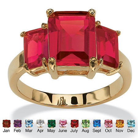 Emerald-Cut Simulated Birthstone 18k Gold-Plated Triple-Stone Ring