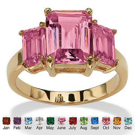 Emerald-Cut Simulated Birthstone 18k Yellow Gold-Plated Triple-Stone Ring