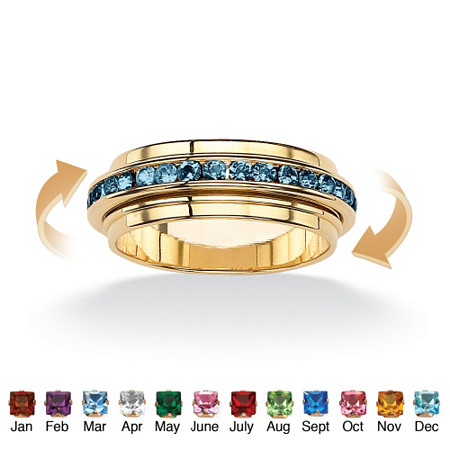 Round Simulated Birthstone 14k Yellow Gold-Plated Eternity Spinner Band