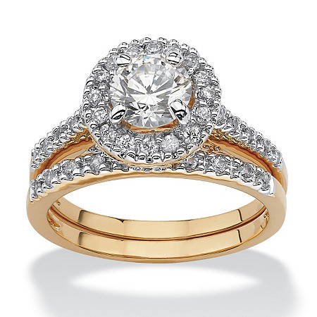 1.79 TCW Round Cubic Zirconia 18k Yellow Gold-Plated Bridal Engagement Ring Wedding Band Set