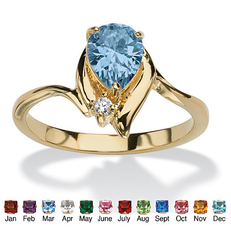 Pear-Shaped Birthstone with Crystal Accent 18k Gold-Plated Ring