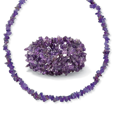 Amethyst Nugget Necklace And Bracelet Set