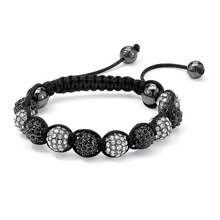 Round Black and White Crystal Glass Ball Macrame Rope Tranquility Bracelet Adjustable 8 to 10